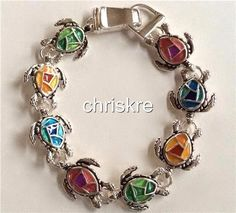 Silver Plated Sea Turtle Charm Bracelet Beach Island Life Multicolor Enamel  #Unbranded #Traditional