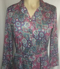 Artsy retro dress, such a great print and matching belt too!  Art To Wear Dress 12 Large Matching Belt 3/4 Sleeve Long #Modest