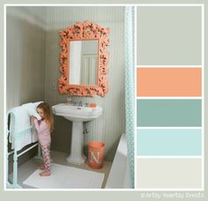 Coral and light green - for the bathroom. like this for a basement bathroom that doesn't get sunlight..