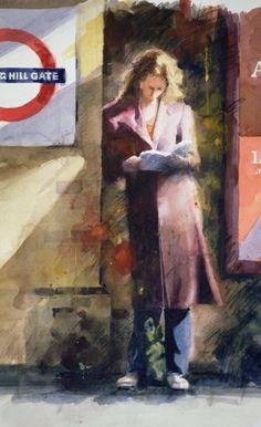 Woman reading on Notting Hill Gate platform by John Lidzey