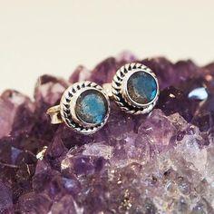 SPECIAL PRICE - Olwen - Fiery Labradorite & Sterling Silver Stud Earrings