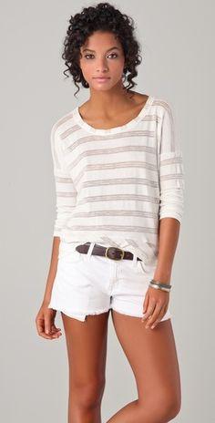 White shorts and white shirt