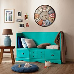 Mrs. Hallway modrá lavička s úložným prostorem / hall furniture