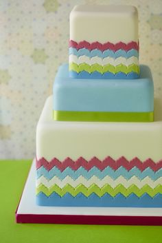 quilt, parti cake, layer cakes, fiesta, party cakes, chevron cakes