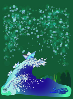 barcos de papel navegando sobre olas de mar orientales bajo un cielo de burbujas, como un sueño surrealista - sea paper boats sailing on eastern waves under a sky of bubbles, like a surreal dream - Flip #camisetas #tshirts