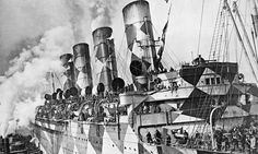 RMS Mauretania, in service as a troop ship, in dazzle camouflage pattern. Photograph: Hirz/Getty Images