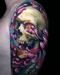 Surrealistic tattoos by Roberto Carlos Sanchez Mesa Skull Girl Tattoo, Skull Tattoo Design, Skull Tattoos, Black Tattoos, Arm Tattoo, Sleeve Tattoos, Tatoos, Skull Design, Tattoo Designs