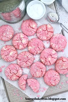 These Strawberry and Cream Crinkle Cookies taste like a fluffy cake with a hint of strawberry flavour. These cookies have a sweet and crunchy outside with a soft cake-like centre. Easy Cookie Recipes, Cookie Desserts, Baking Recipes, Dessert Recipes, Crinkle Cookies, Cookies And Cream, Valentine Cookies, Holiday Cookies, Valentines