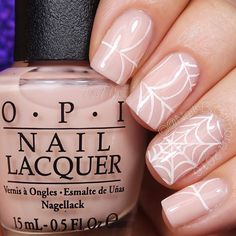 Easy and delicate spider web nail art #nailart #halloween