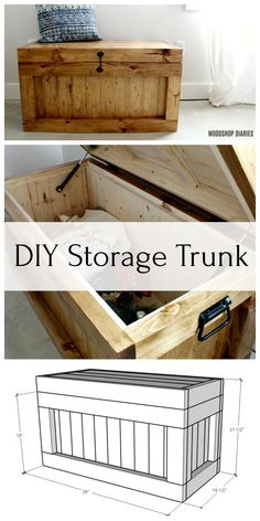 Build your own storage trunk that would be perfect for end of the bed storage, storage coffee table, DIY hope chest, toy box with these free plans! Made from simple and dimensional lumber. diy for beginners plans tips tools Diy Furniture Projects, Diy Wood Projects, Wood Furniture, Diy Storage Projects, Simple Furniture, Furniture Storage, Furniture Makeover, Garden Furniture, Wood Crafts