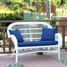 Outdoor Jeco Santa Maria Wicker Loveseat Bench with Optional Cushion - W00208-L