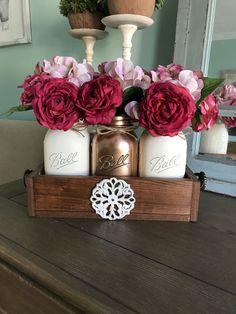 Copper mason jar centerpiece - metallic mason jar with pink flowers