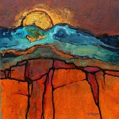 "Mixed Media Abstract Painting, ""EDGE OF SEDONA"" by Colorado Mixed Media Artist Carol Nelson"