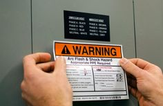 Section 110.16 of the National Electric Code requires a label on electrical equipment that warns qualified persons of potential arc flash hazards if that equipment is likely to require examination, adjustment, servicing, or maintenance while energized.