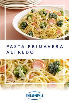 Achieve pasta perfection with this delicious and creamy Pasta Primavera Alfredo recipe made with PHILADELPHIA Cream Cheese. #ItMustBeThePhilly