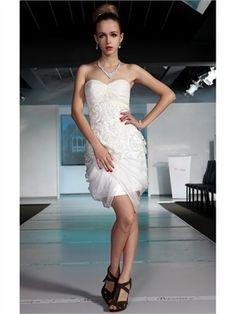 Mini short sweetheart straps lace white Prom Dresses 2013 PGPD0040