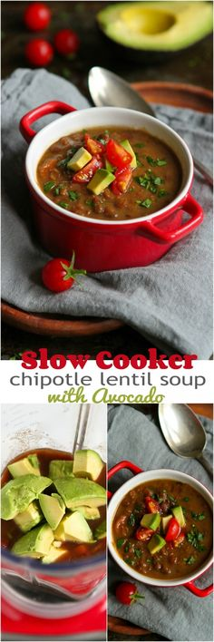 Slow Cooker Chipotle Lentil Soup with Avocado... Healthy & delicious, with very little prep time. 298 calories | cookincanuck.com #recipe #vegan #vegetarian