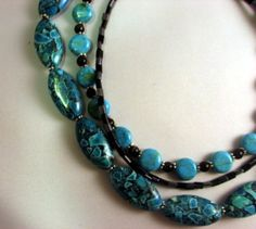 Ocean Blue Multi-strand stone Necklace | ErblandElegance - Jewelry on ArtFire