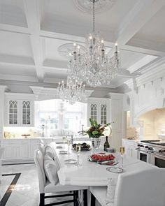 Discover grids of beams with the top 50 best coffered ceiling ideas for your home. Explore sunken panel designs and add architectural detail to any room. Luxury Kitchen Design, Dream Home Design, Interior Design Kitchen, House Design, Interior Decorating, Fancy Kitchens, Luxury Kitchens, Modern Kitchens, Cuisines Design