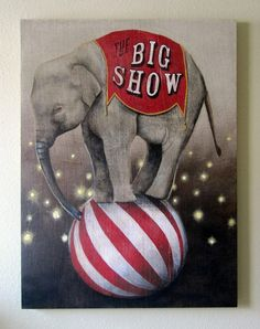 Vintage Circus Elephant painting on burlap by Lisa Golightly.Vintage circus clown painting My Grandma's Attic Old Circus, Circus Art, Night Circus, Circus Theme, Circus Clown, Halloween Circus, Halloween Photos, Vintage Halloween, Halloween Costumes