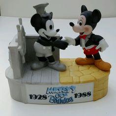 HTF STEAMBOAT WILLIE MICKEY MOUSE 60th BIRTHDAY Ceramic FIGURINE Disneyland WDW #Disneyana #SteamboatWillie