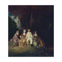 Giclee Print: Pierrot Content, Ca 1712 by Jean Antoine Watteau : 16x16in