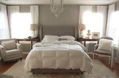 Suzie: The Nester - Absolutely beautiful bedroom with gray walls paint color, gray tufted ...