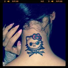 Jack Skellington / Hello Kitty tattoo... @angsnod Pretty sure I found our Breastie tattoo!!!  lol.