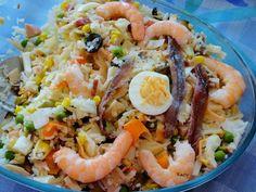 Ensalada de arroz con langostinos