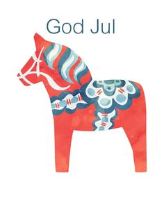 Free Dala Horse Print, God Jul
