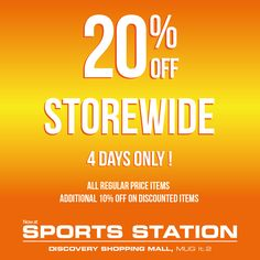 We give you more! Get 20% off for all normal items and another 10% off for the selected ones! 27– 30 August 2015