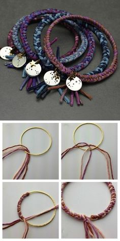 DIY Silk Wrapped Bangle Tutorial from Nina Designs.You could also use fabric strips, thick yarn, embroidery floss etc… depending on the width of the bangle. All you need to know is how to make a 3 strand braid. For hundreds of DIY bracelets go here:. Silk Wrap Bracelets, Fabric Bracelets, Embroidery Bracelets, Fabric Jewelry, Beaded Bracelets, Embroidery Floss Crafts, Silver Bracelets, Diy Bracelets Using Yarn, Braclets Diy