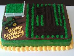 John Deere birthday cake. 1st birthday! Oreo crumbs and tractor create the number 1.
