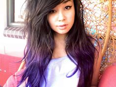 purple tips. I want to do this to my hair sometime. But first I'm dying my hair red.