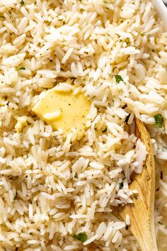 Easy Rice Recipes, Side Dish Recipes, Healthy Recipes, Dinner Recipes, Yummy Recipes, Yummy Food, Garlic Butter Rice, Buttered Rice Recipe, Rice