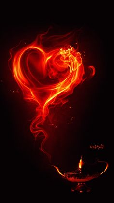 Love heart fiery shape on black - Animated - iphone wallpaper background lock screen