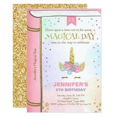 Unicorn Birthday Invitation Pink Gold Magical Book Rainbow Invitations, Unicorn Birthday Invitations, Pink Invitations, Unicorn Birthday Parties, Unicorn Party, First Birthday Parties, Custom Invitations, Birthday Party Themes, Girl Birthday