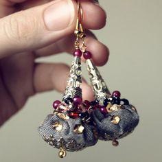 sale  Arabian nights  fabric earrings  silver cone by KarolinFelix, €18.00