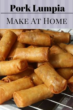 Made at Home Lumpia - Cooking With Brad - Made at Home Lumpia Great finger food that you can make in advance. Not to big of a roll. I find them to be just right and a hit at every party too! Lumpia Recipe Filipino, Filipino Recipes, Asian Recipes, Filipino Food, Easy Lumpia Recipe, Filipino Egg Rolls, Asian Foods, Egg Roll Recipes, Pork Recipes