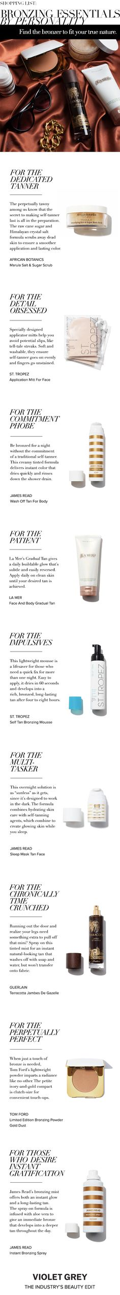 Shopping List: Bronzing Essentials By Personality | The tools you need to master the faux bronze look. | #VIoletGrey, the Industry's Beauty Edit