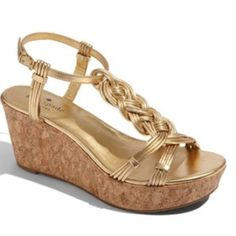 """Kate Spade Becca Cork Wedge Gold Strap Sandal 6.5 In like-new condition: Kate Spade """"Becca"""" Cork Wedge Sandals Size 6.5. Gold leather straps and gold leather hardware. Box and original packaging included. Only worn a couple of times, super comfortable! Happy to answer any questions, post more photos, bundle, and entertain offers. Thanks for looking! :) kate spade Shoes Wedges"""