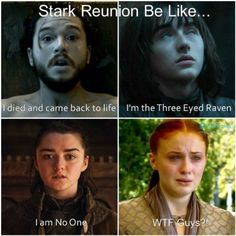 Stark reunion be like... Click the image for more hilarious Game of Thrones memes!