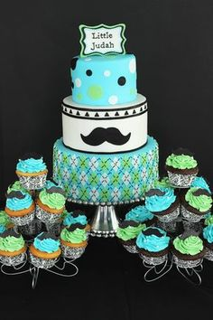 Mustache Baby Shower Cake And Cupcakes