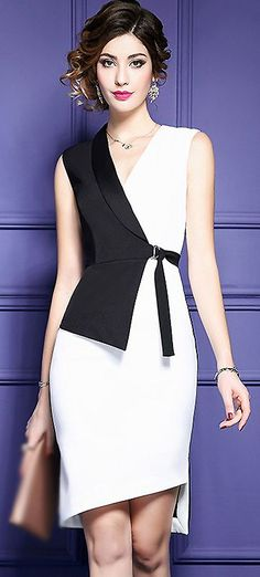 Fashion V-Neck Hit Color Belted Bodycon Dress #bodycondress