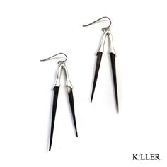 Double Bionic Quill Earrings Sterling