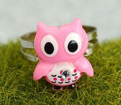 Pink Owl Ring Valentine's Day Owlet  $8.99 with free USA shipping from  sparklingbagcandy.com