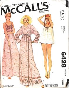 Vintage McCalls 6428 UNCUT Misses Wrap Robe, Night Gown and Baby Doll Pajamas Size Petite ( Bust Loose-fitting gown in two lengths Mccalls Patterns, Vintage Sewing Patterns, Clothing Patterns, Dress Patterns, Sewing Ideas, Paper Patterns, Sewing Diy, Clothing Ideas, Sewing Projects