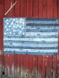 I Pledge Allegiance handmade upcycled denim::lots of recycled denim ideas. Jean Crafts, Denim Crafts, Blue Jean Quilts, Denim Quilts, Inchies, Denim Ideas, Recycled Denim, Upcycle, Recycle Art