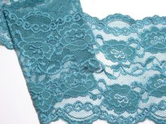Jade Green Stretch Lace Elastic 6 inches wide x by GriffithGardens, $3.00