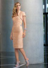 Column Sweetheart Drape Short Pink Mother Of The Bride Dress